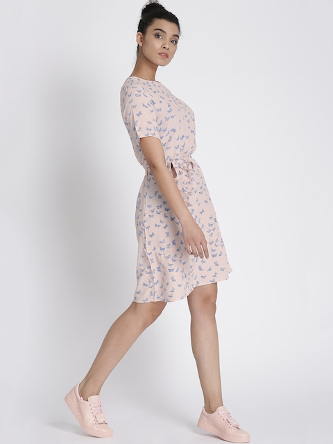 Chemistry Women Cream-Coloured Printed Sheath Dress