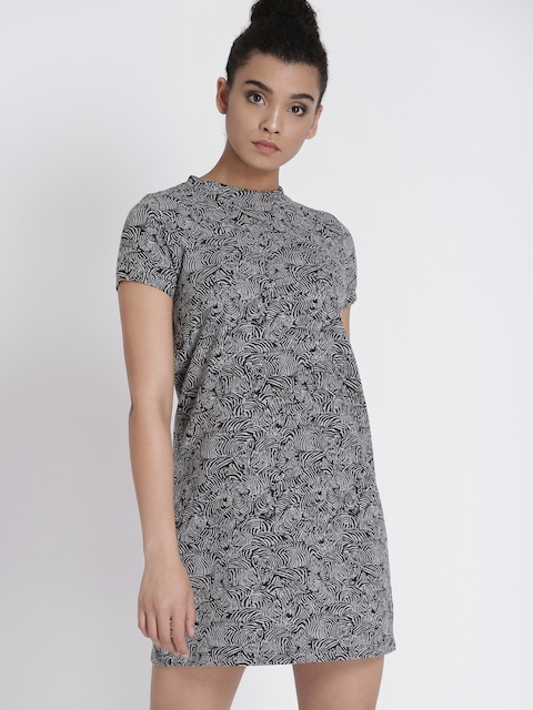 Chemistry Women Grey & Black Printed A-Line Dress