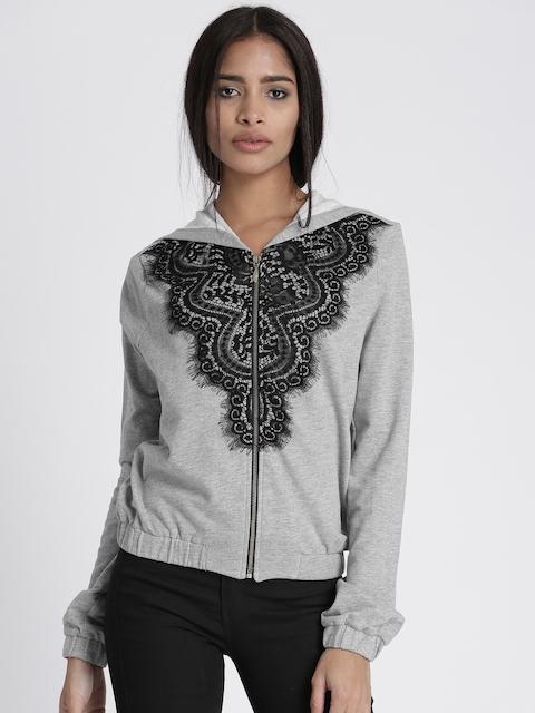 Chemistry Women Grey Melange Self-Design Hooded Sweatshirt