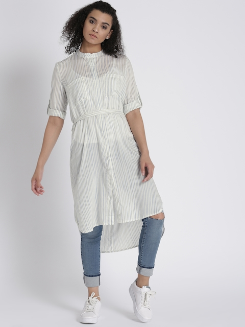 Chemistry Women Off-White & Blue Striped Shirt Dress