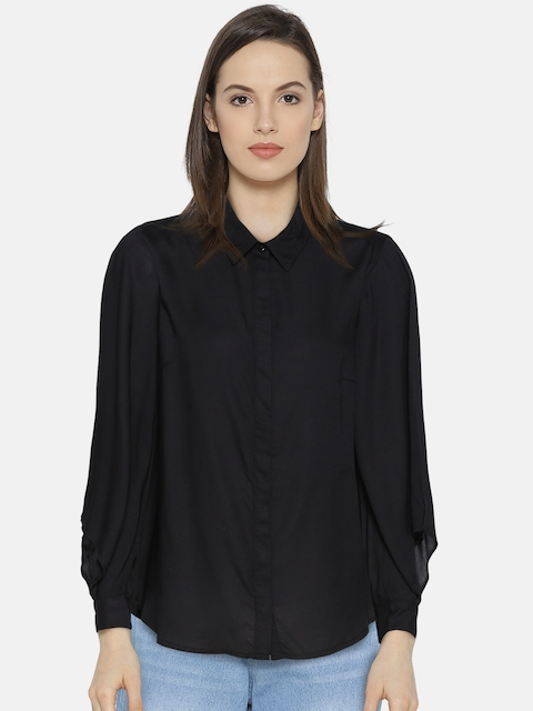 Vero Moda Women Black Solid Casual Shirt