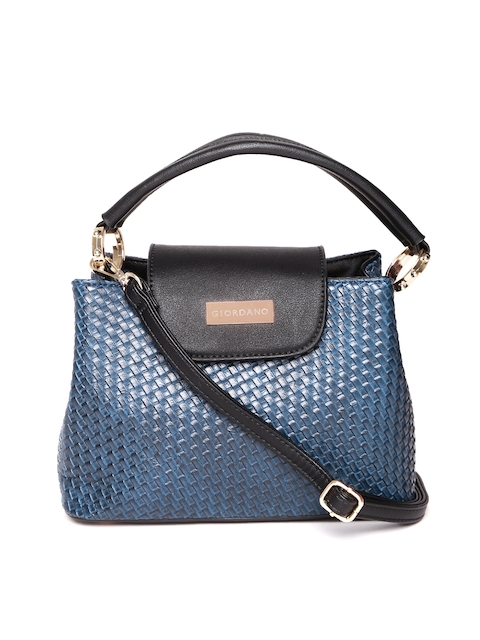 GIORDANO Blue Basketweave-Textured Satchel Bag  available at myntra for Rs.1707
