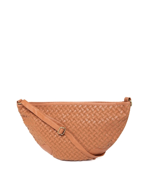 GIORDANO Brown Basketweave-Textured Sling Bag  available at myntra for Rs.987