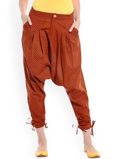 Desi Weaves Women Rust Brown Printed Jodhpuri Trousers  available at myntra for Rs.695