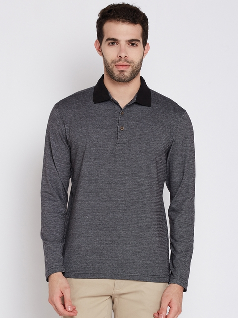 John Players Men Black Self-Design Polo Collar T-shirt