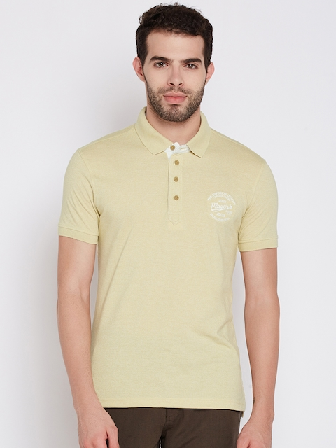 John Players Men Beige Solid Polo Collar T-shirt