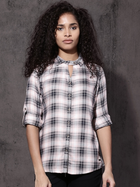 Roadster Women Black & White Checked Casual Shirt