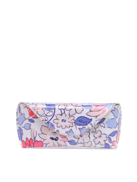 Cath Kidston Women Off-White & Blue Floral Print Spectacle Case