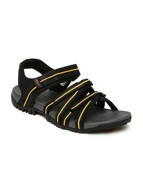 FILA Men Black & Yellow GABOR III Sports Sandals