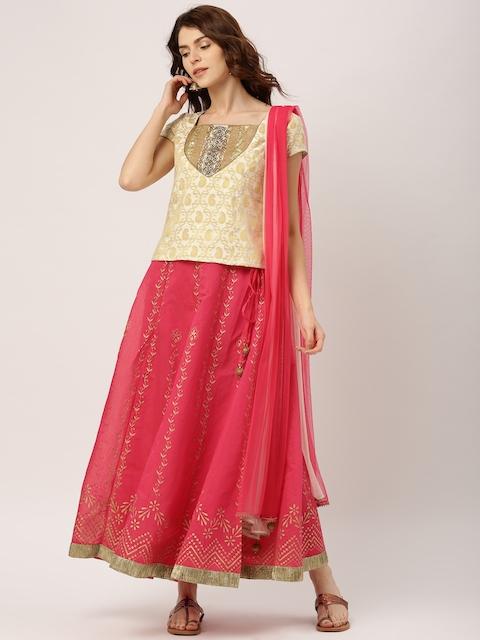 IMARA by Shraddha Kapoor Off-White & Pink Lehenga Choli with Dupatta