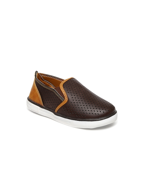 Kittens Boys Brown Laser-Cut Slip-On Sneakers