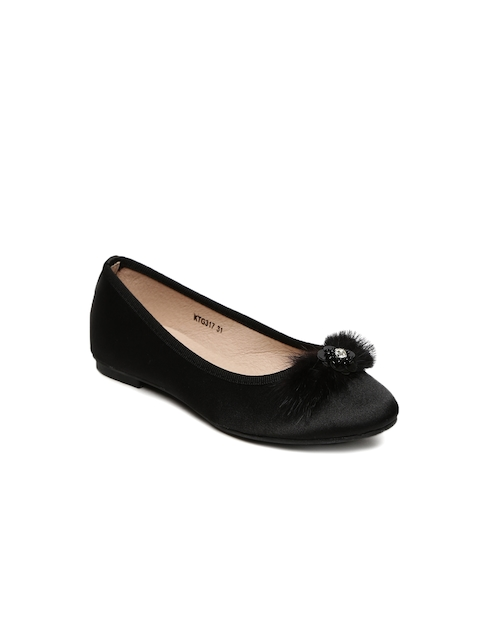 Kittens Girls Black Embellished Ballerinas