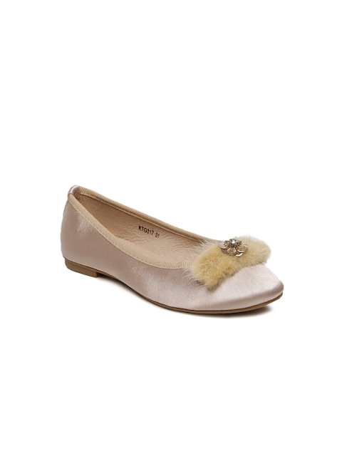 Kittens Girls Beige Embellished Ballerinas