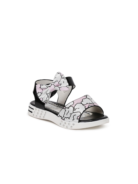 Kittens Girls Black & Pink Printed Sandals