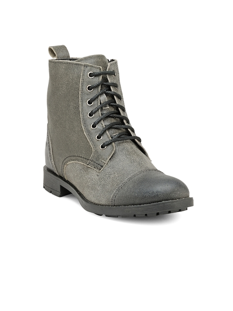Franco Leone Men Grey Solid Leather High-Top Flat Boots