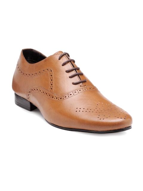 Franco Leone Men Tan Brown Leather Formal Shoes