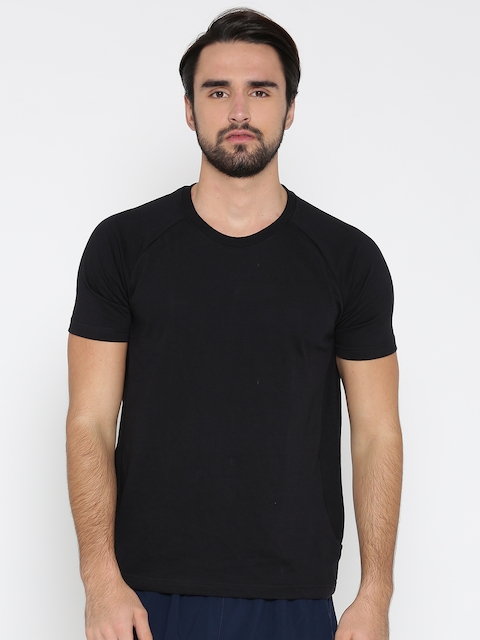 Hanes Men Black Solid Round Neck T-shirt  available at myntra for Rs.619