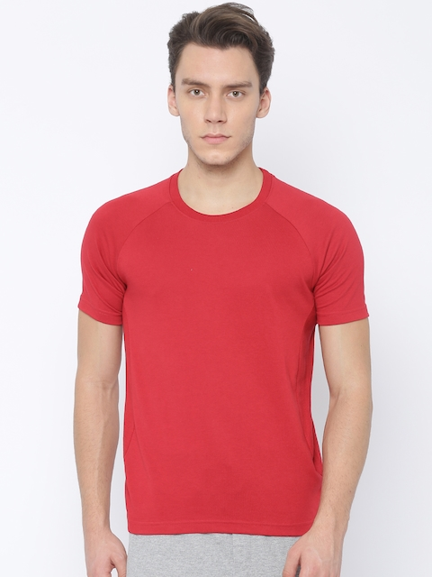 Hanes Men Red Solid Round Neck T-Shirt  available at myntra for Rs.599