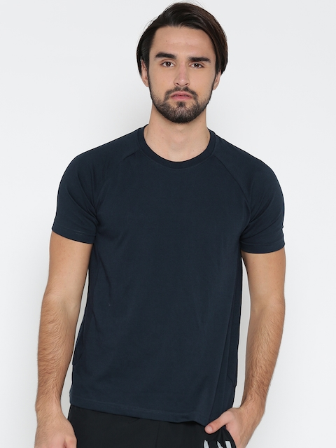 Hanes Men Navy Solid Round Neck T-shirt  available at myntra for Rs.619
