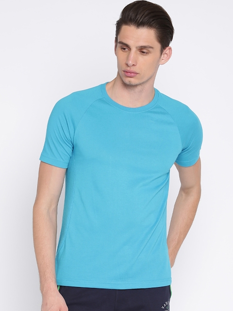 Hanes Men Turquoise Blue Solid Round Neck T-shirt  available at myntra for Rs.599