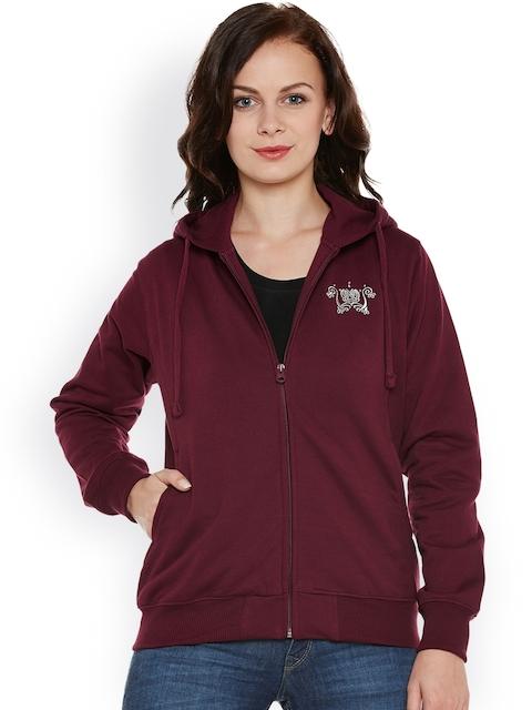 Cayman Women Maroon Solid Hooded Sweatshirt
