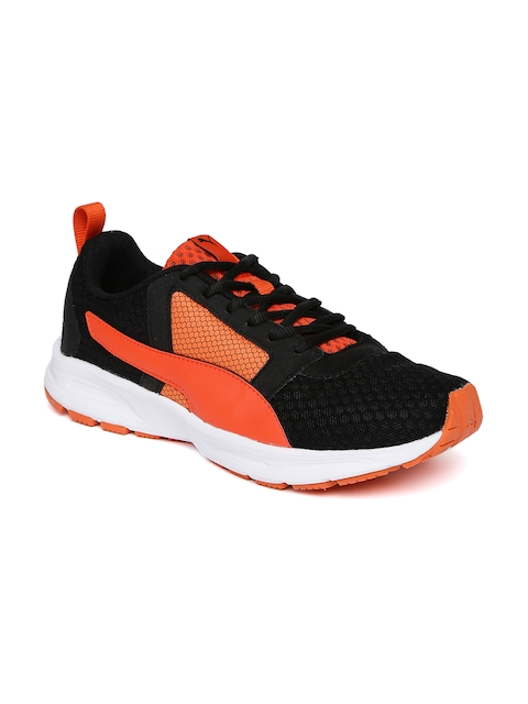 Puma Men Black & Orange Deng Running Shoes
