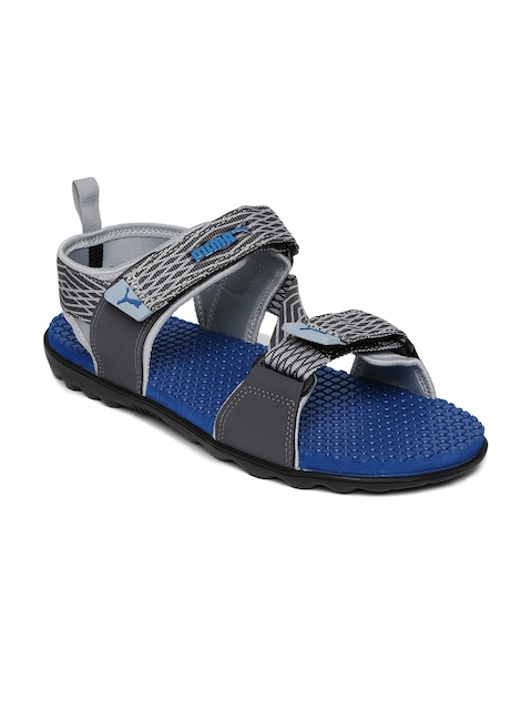 Puma Men Grey & Blue Spectra Patterned Nubuck Leather Sports Sandals
