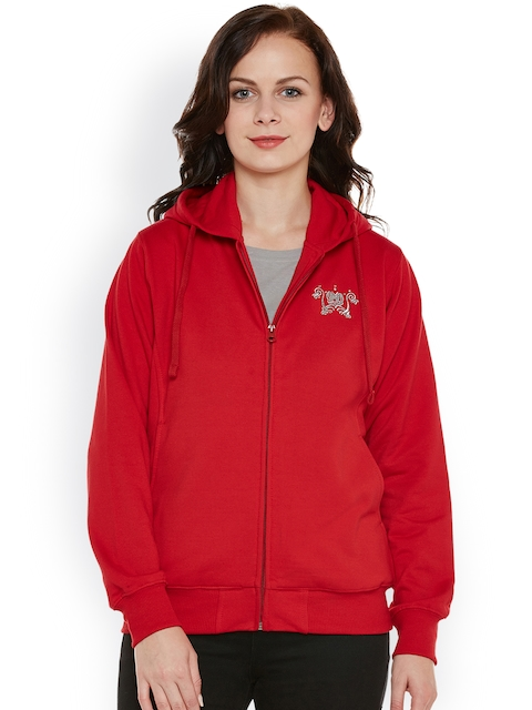 Cayman Women Red Solid Hooded Sweatshirt