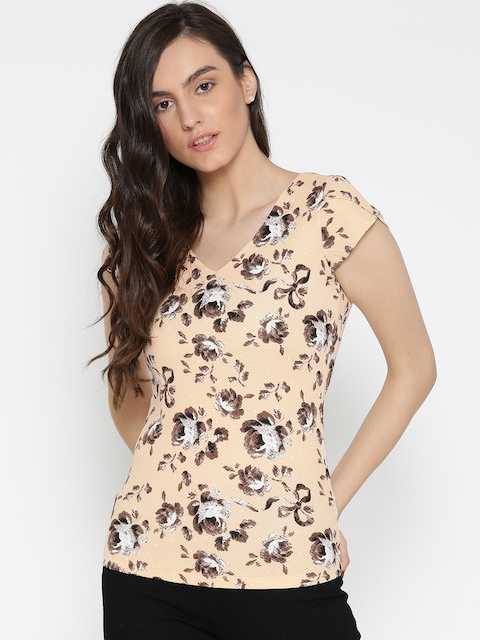 Wills Lifestyle Women Peach-Coloured Floral Print Fitted Top