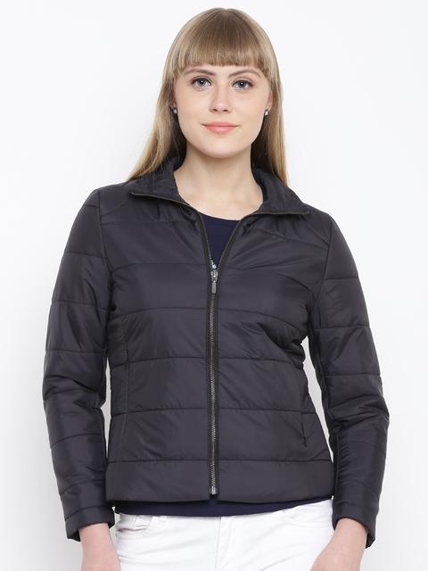 Wills Lifestyle Women Black Solid Puffer Jacket