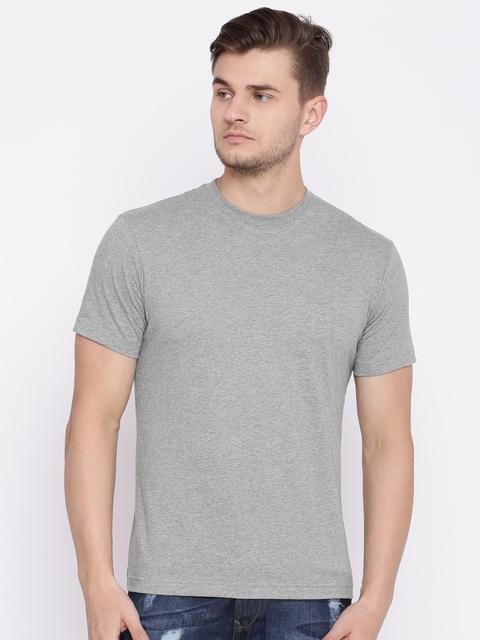 Jockey Men Grey Melange Solid Round Neck T-shirt