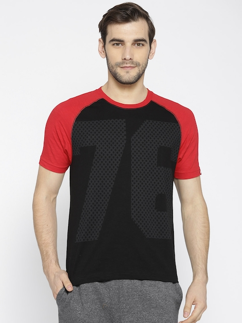 Jockey Men Black Printed Round Neck T-shirt