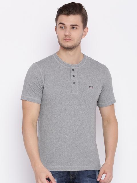 Jockey Men Grey Melange Henley Neck T-shirt