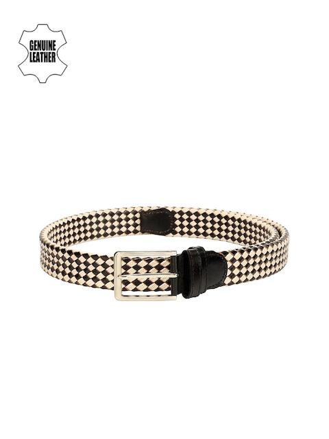 Teakwood Leathers Men Black & Beige Braided Leather Belt