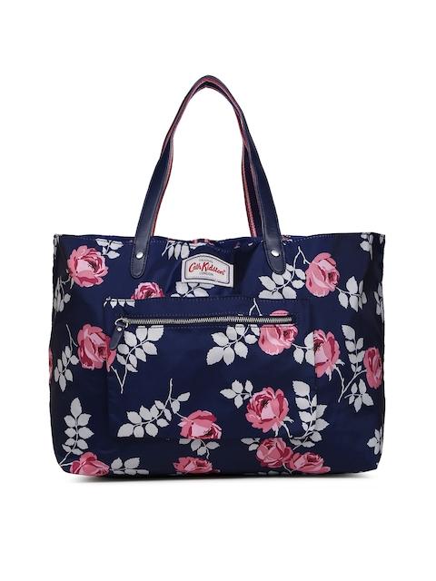 Cath Kidston Navy Blue Floral Print Reversible Tote Bag