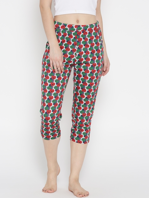 Sweet Dreams Red & Off-White Floral Print Sleep Capris F-LLC-601A