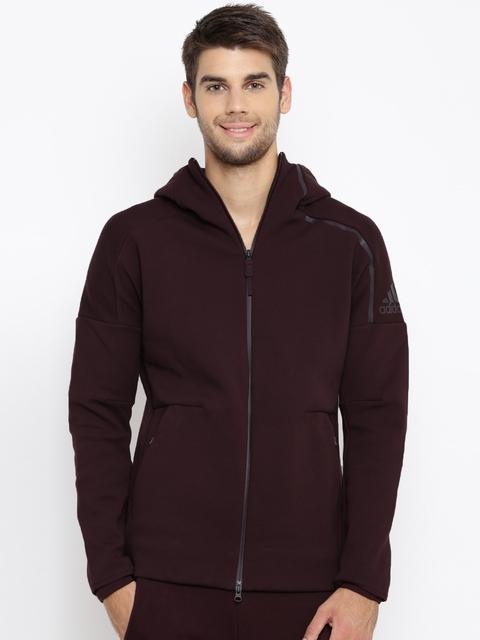 Adidas Men Burgundy ZNE 2 Solid Hooded Sporty Jacket