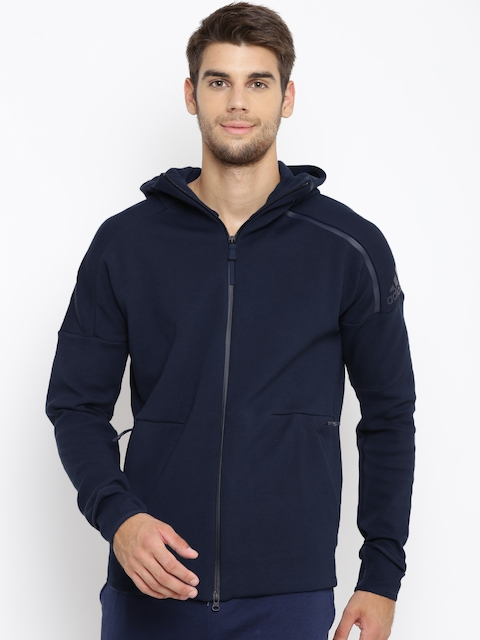 Adidas Men Navy ZNE 2 Solid Hooded Sporty Jacket