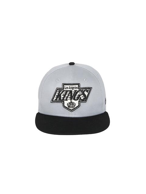 NEW ERA Men Grey & Black Nfl Cotton Block Oakrai Snapback Cap