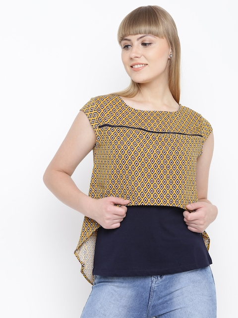 Madame Women Mustard Yellow & Navy Printed Layered Top
