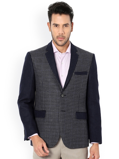 Van Heusen Grey Checked Single-Breasted Slim Fit Blazer