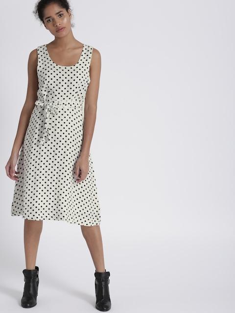 Chemistry Women White & Navy Printed A-Line Dress