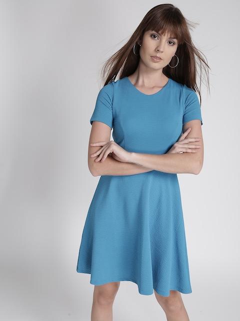 Chemistry Women Blue Self-Striped Empire-Line Dress