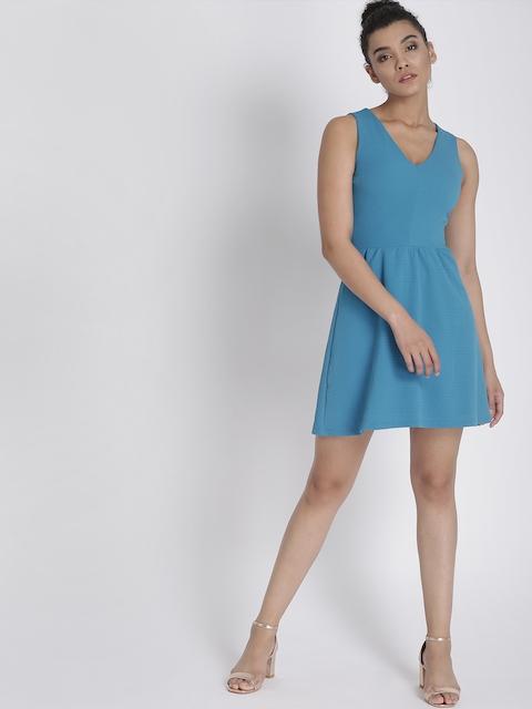 Chemistry Women Blue Striped A-Line Dress