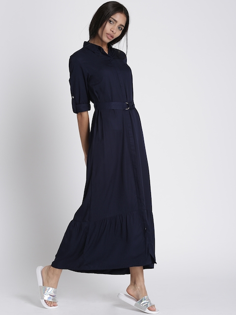 Chemistry Women Navy Blue Solid Maxi Dress