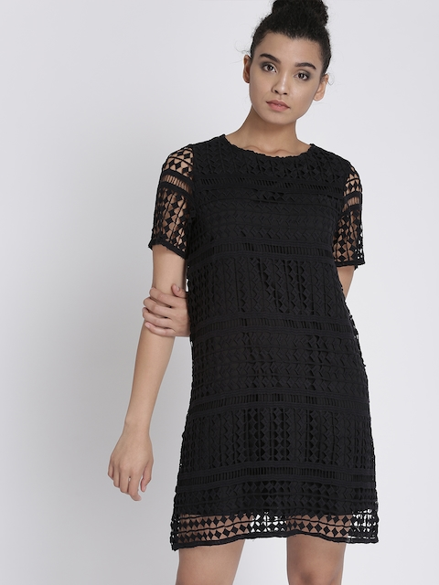 Chemistry Women Black Self Design A-Line Dress