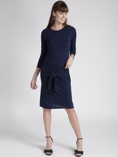 Chemistry Women Blue Solid Tie-Up Sheath Dress