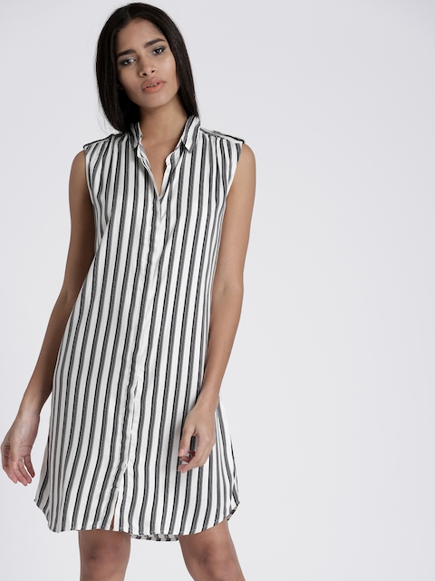 Chemistry Women White & Black Striped Shirt Dress