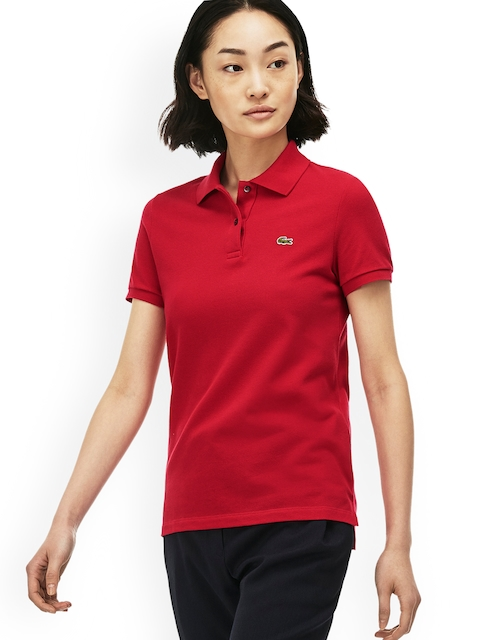 Lacoste Women Red Solid Polo Collar T-shirt
