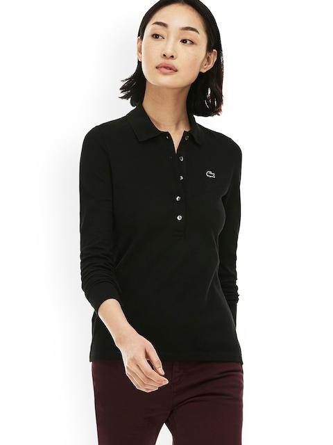Lacoste Women Black Slim Fit Stretch Mini Polo